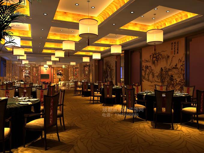 成都工装作品--中式风格餐厅设计方案